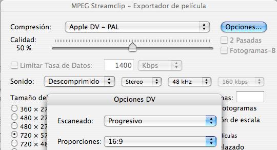 Opciones para un vídeo DV-PAL progresivo a 16:9