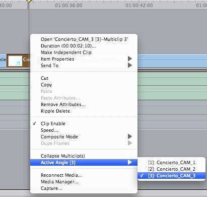 Tras realizar los cortes podemos cambiar en cualquier momento el ángulo de cada clip mediante Control-clic / Active Angle