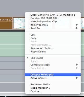 Colapsar los multiclips tras terminar la edición nos permitirá trabajar holgadamente con efectos, corrección de color, etc