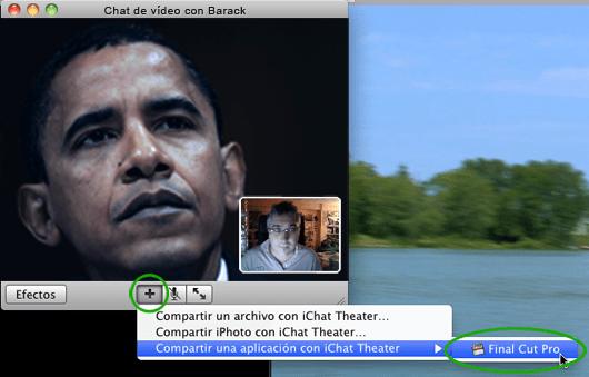 Se puede realizar la conexión desde el propio iChat, una vez que tengamos abierta una videoconferencia con un contacto