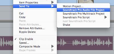Se pueden enviar uno o varios clips a Soundtrack Pro.