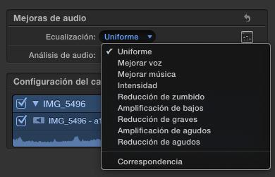 correspondencia de audio fcpx