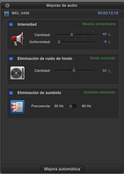 mejoras de audio fcpx