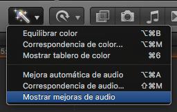 mostrar mejoras de audio fcpx