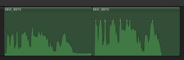 """Forma de onda antes y después de aplicar """"Mejoras de audio""""."""